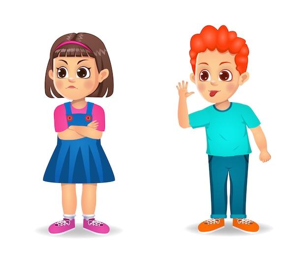 Chłopiec dziecko irytujące dziecko dziewczynka