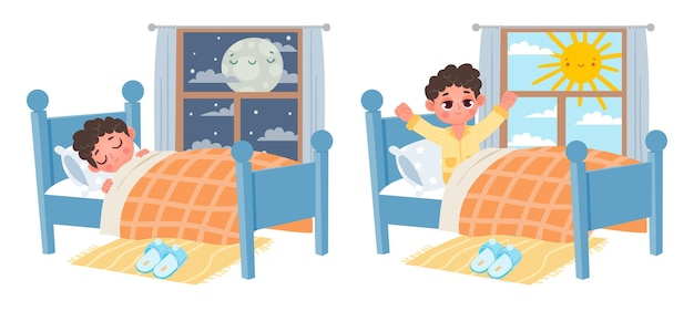 Chłopiec dziecko kreskówka spać w nocy, obudzić się rano. dziecko w łóżku i oknie z księżycem lub słońcem. słodki sen i zdrowy sen wektor. ilustracja snu i budzenia się w wygodnej piżamie
