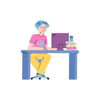 Chłopiec dziecko lub postać z kreskówki nastolatek studiuje online z komputerem, płaska ilustracja na białym tle. kursy kształcenia na odległość dla dzieci w wieku szkolnym.