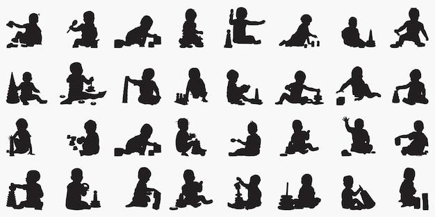 Chłopiec dziecko plying z zabawkami sylwetki ilustracji