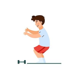 Chłopiec dziecko robi ćwiczenia fizyczne w siłowni płaskiej kreskówki