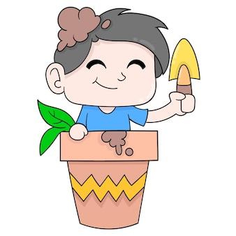 Chłopiec dziecko sadzi rośliny w doniczce. doodle ikona kawaii.
