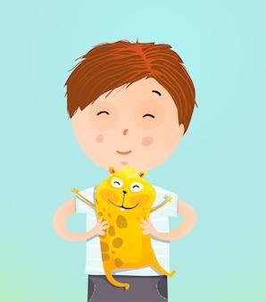 Chłopiec dziecko trzyma świnki morskiej