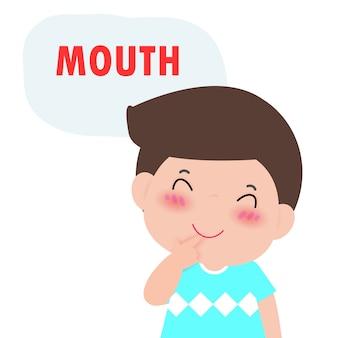 """Chłopiec dziecko wskazując i mówiąc """"usta"""" jako część nazywania ciała lub części serii twarzy dla dzieci na białym tle ilustracji"""