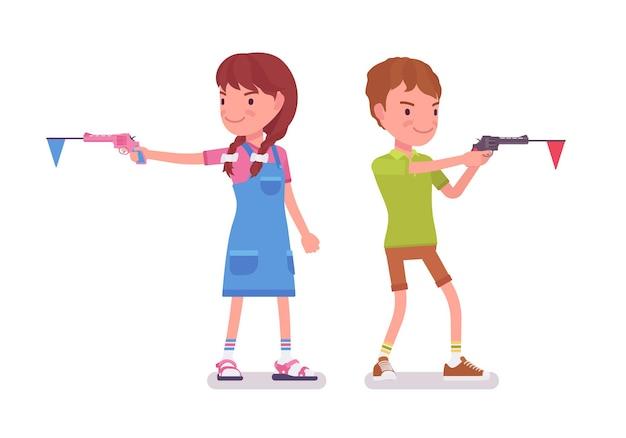 Chłopiec, dziewczynka, dzieci w wieku od 7 do 9 lat, zabawa dla dzieci w wieku szkolnym. aktywne dzieci chętnie bawią się, bawiąc się, strzelając z zabawkowego pistoletu. wektor ilustracja kreskówka płaski na białym tle