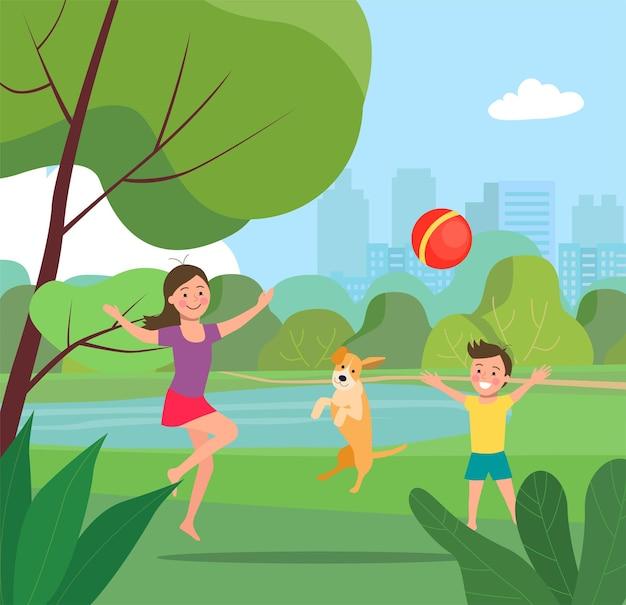 Chłopiec, dziewczynka i pies grają w piłkę w parku. ilustracja wektorowa