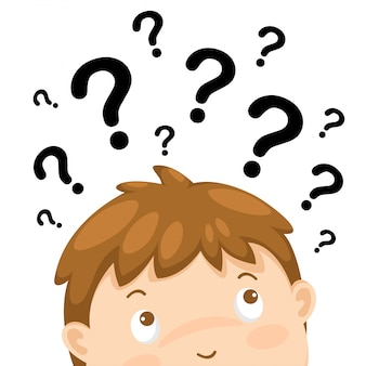 Chłopiec główkowanie z znakami zapytania wektorowymi