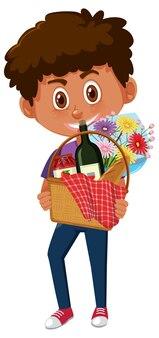 Chłopiec gospodarstwa postać z kreskówki kosz piknikowy