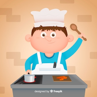 Chłopiec gotuje w kuchni