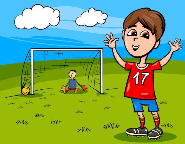 Chłopiec gra ilustracja kreskówka piłka nożna