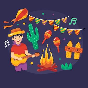 Chłopiec gra na gitarze festa junina
