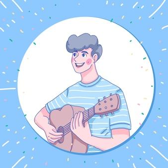 Chłopiec gra na gitarze projekt postaci
