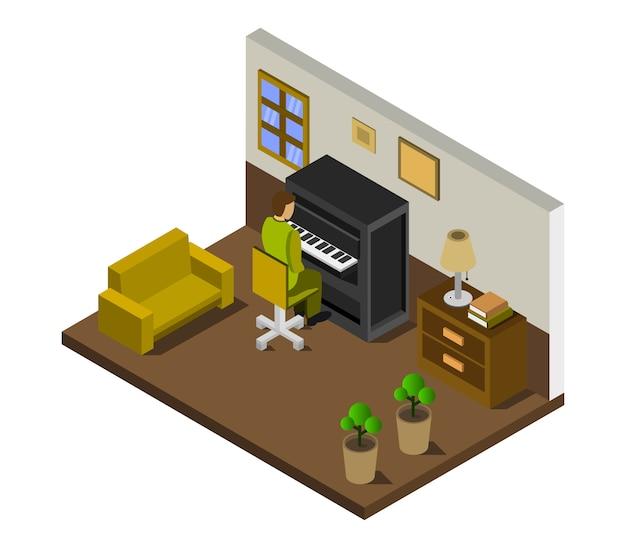 Chłopiec gra na pianinie, izometryczny pokój