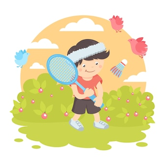 Chłopiec gra w badmintona