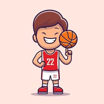 Chłopiec gra w koszykówkę kreskówka. ludzie ikona koncepcja sportu na białym tle. płaski styl kreskówki