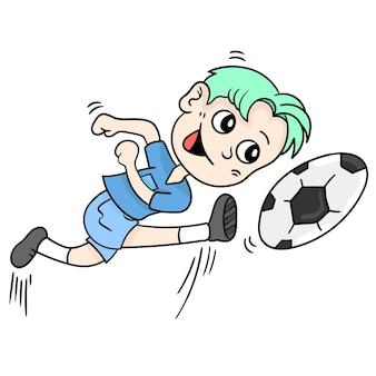 Chłopiec gra w piłkę nożną. ilustracja kreskówka naklejka emotikon