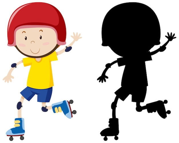 Chłopiec gra w rolkach w kolorze i sylwetce