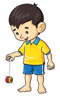 Chłopiec gra w yoyo