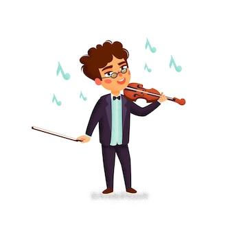 Chłopiec grający na skrzypcach