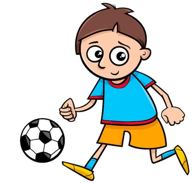 Chłopiec grający piłkę kreskówka