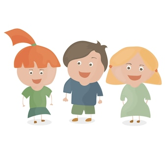 Chłopiec i dwie dziewczynki. śmieszne kreskówki i wektor znaków nastolatków.