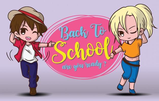 Chłopiec i dziewczyna dalej z powrotem szkoła szablon.