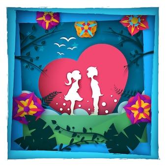 Chłopiec i dziewczyna kochamy papierową ilustrację