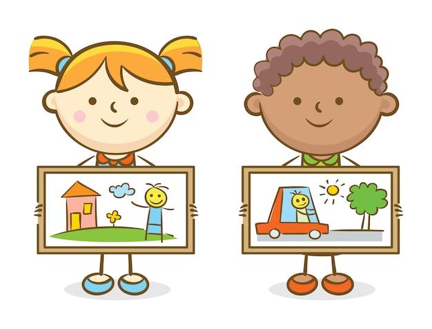 Chłopiec i dziewczyna pokazuje obraz sztuki