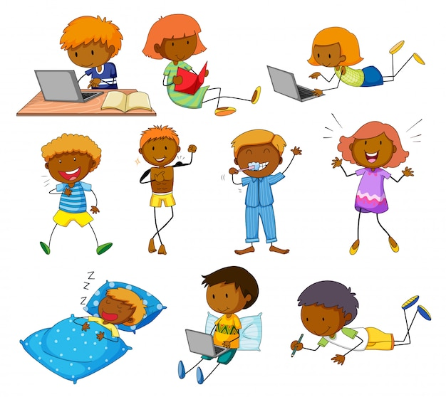 Chłopiec i dziewczyna robi różne aktywność