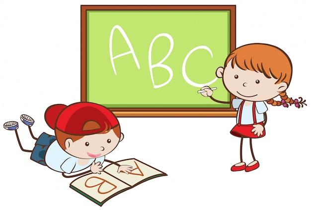 Chłopiec i dziewczyna uczy się abc