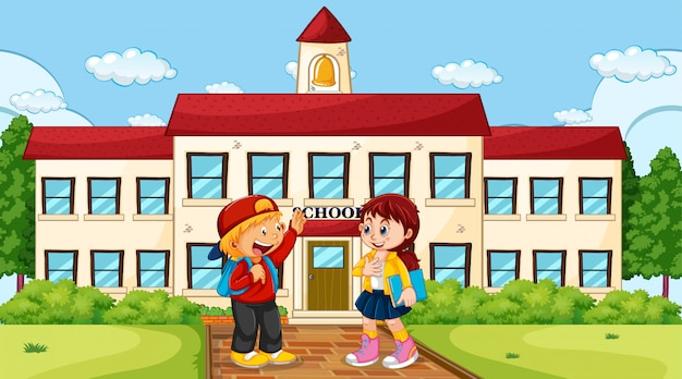 Chłopiec i dziewczyna w szkole