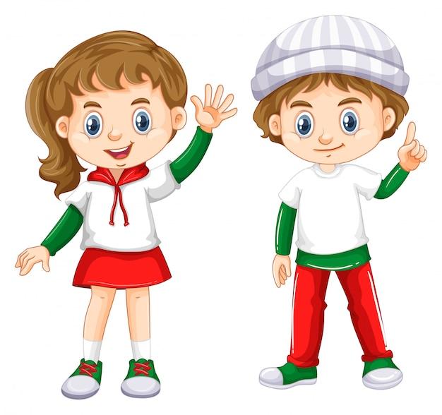 Chłopiec i dziewczyna z szczęśliwą twarzą