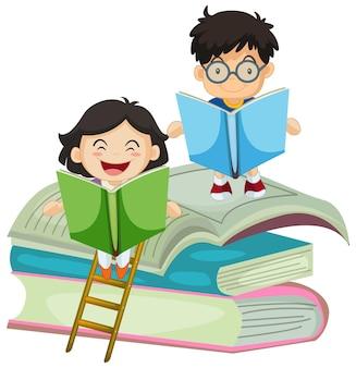 Chłopiec i dziewczynka czyta książkę