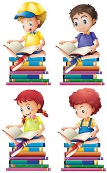 Chłopiec i dziewczynka czytanie książek ilustracji
