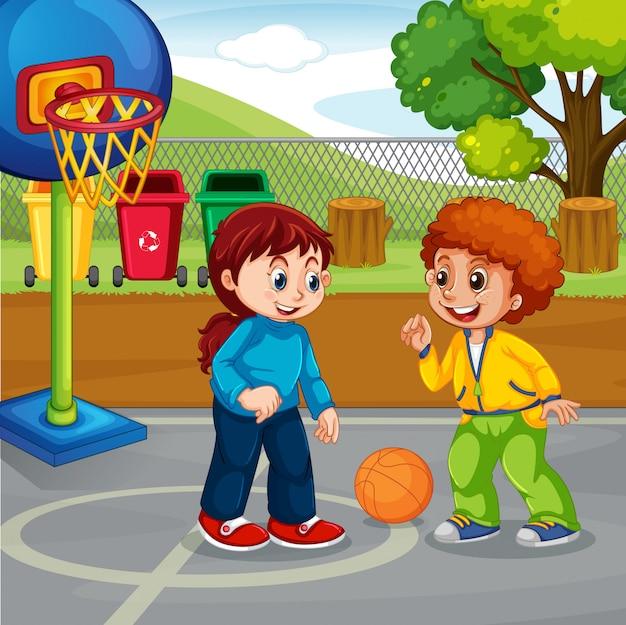 Chłopiec i dziewczynka gra