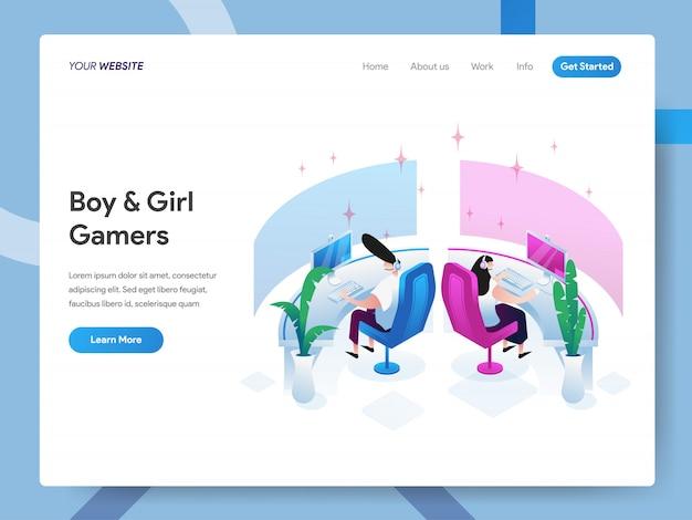 Chłopiec i dziewczynka graczy izometryczny ilustracja na stronie internetowej