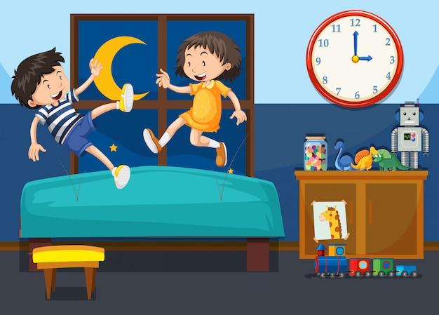 Chłopiec I Dziewczynka Grający Na łóżku Premium Wektorów