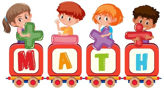 Chłopiec i dziewczynka trzyma symbol matematyczny z formą matematyczną