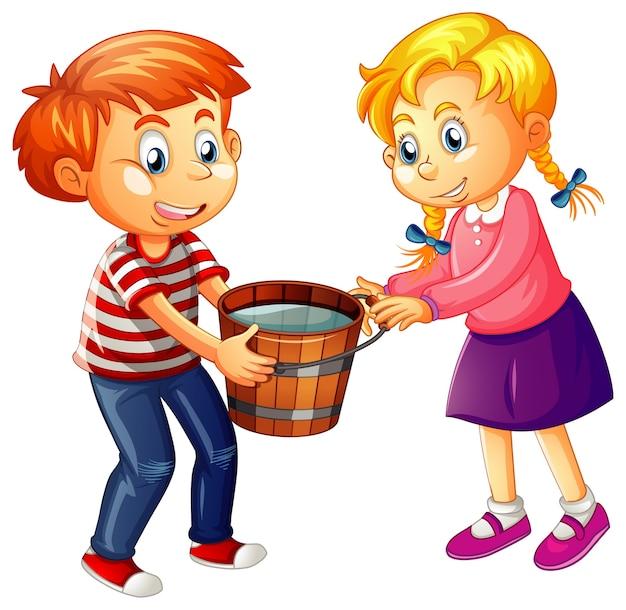 Chłopiec i dziewczynka trzymając drewniane wiadro pełne wody na białym tle