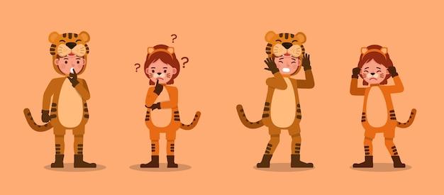 Chłopiec i dziewczynka ubrana w kostiumy tygrysa. prezentacja w różnych działaniach z emocjami.