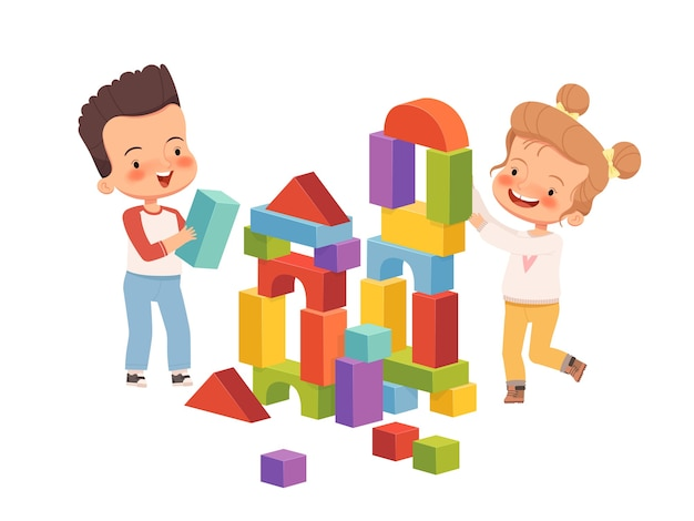 Chłopiec i dziewczynka uśmiechają się i budują wieżę z klocków dla dzieci. dzieci bawią się przyjaźnie i razem. na białym tle na białym tle.