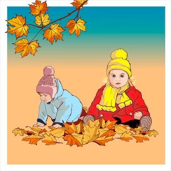 Chłopiec i dziewczynka w jesienne ubrania, grając z liśćmi na ulicy kreskówka ilustracja. brat i siostra, dzieci spędzają czas na świeżym powietrzu na białym tle.