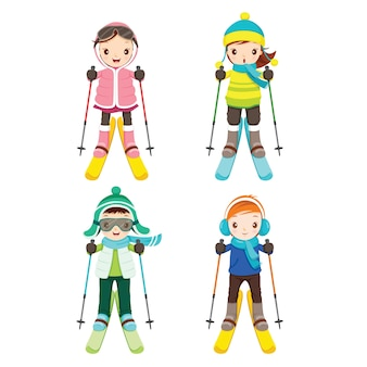 Chłopiec i dziewczynka w zestawie odzieży narciarskiej