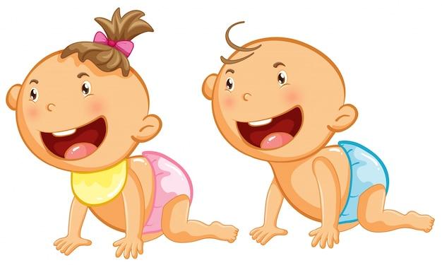 Chłopiec i dziewczynka z wielkim uśmiechem