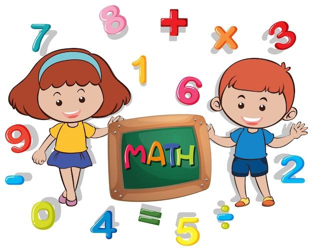 Chłopiec i dziewczynka z wieloma numerami