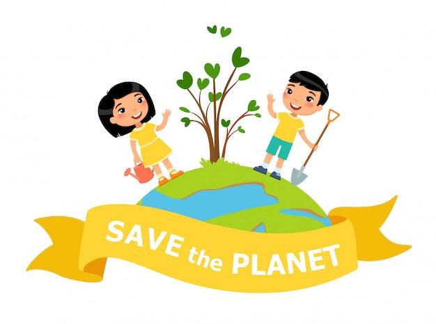 Chłopiec i dziewczynka zasadzili drzewo