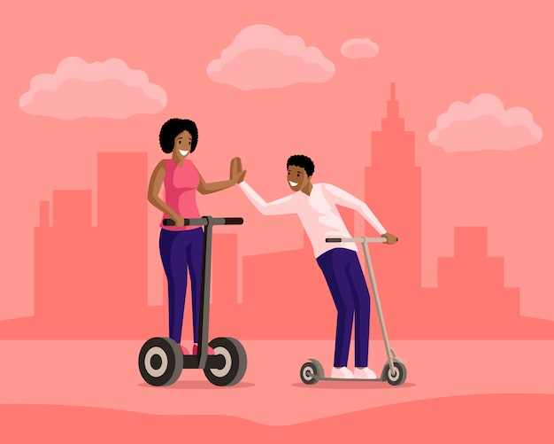 Chłopiec i dziewczyny jeździeckie hulajnoga w grodzkiej płaskiej ilustraci. przyjaźń, wieczorny spacer, aktywny wypoczynek, wypoczynek razem. uśmiechnięci ludzie na elektrycznych i kopać skutery postaci z kreskówek