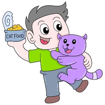 Chłopiec i jego kot walczą o konserwy, ilustracji wektorowych sztuki. doodle ikona obrazu kawaii.