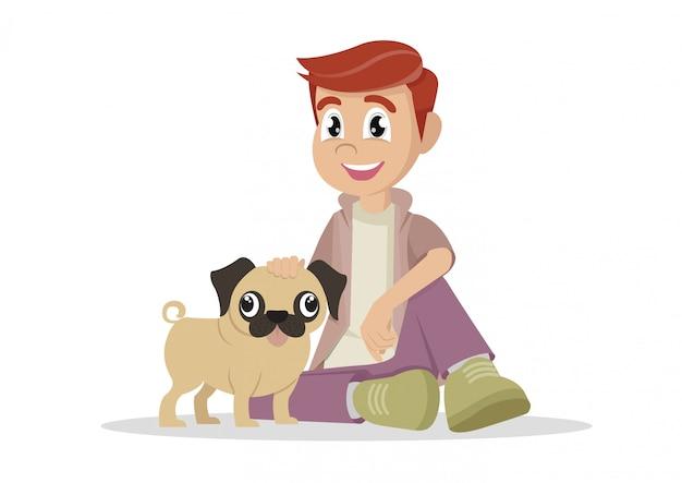 Chłopiec i jego pies.