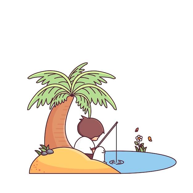 Chłopiec i pies łowi riverside postać z kreskówki wektoru ilustrację